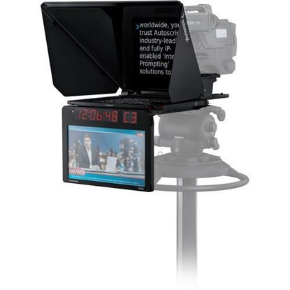 """Picture of Autoscript EPIC-IP on-camera package with 15"""" prompt monitor and integrated 15"""" talent monitor"""