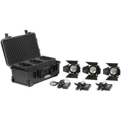 Picture of Kinotehnik Practilite 602 LED Bi-Color Fresnel 3-Light Kit With Case